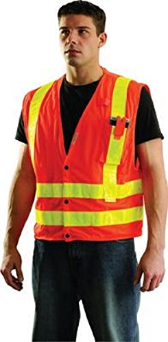 OccuNomix SSLDMS-OM Medium Hi-Viz Orange OccuLux Premium Light Weight Polyester Mesh Class 2 Vest with Front Snap Closure and 3M Scotchlite 2 Reflective Gloss Tape and 4 Pockets 9.204 fl oz.