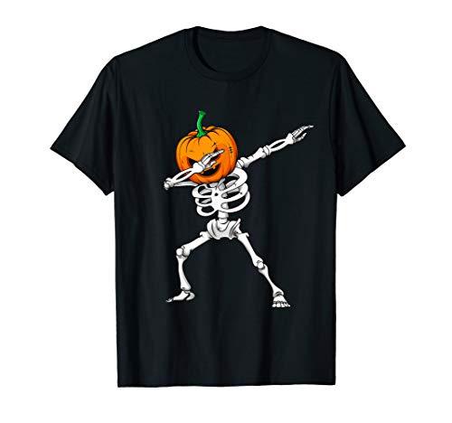 (Dabbing Skeleton T Shirt Halloween Pumpkin Head Face tee)