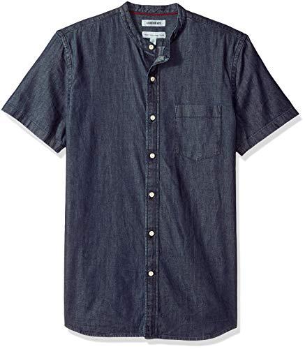 (Goodthreads Men's Standard-Fit Short-Sleeve Band-Collar Denim Shirt, -dark blue, Large)