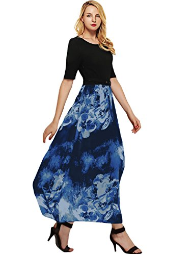 Amoretu Womens Dye Print Short Sleeve Flared Midi Long Dress