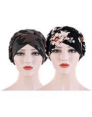 EXCEART 2pcs Women Turban Chemo Head Scarf Sleep Hair Cover Hat African Knot Headwrap Beanie Chemotherapy Cap Sleeping Night Cap