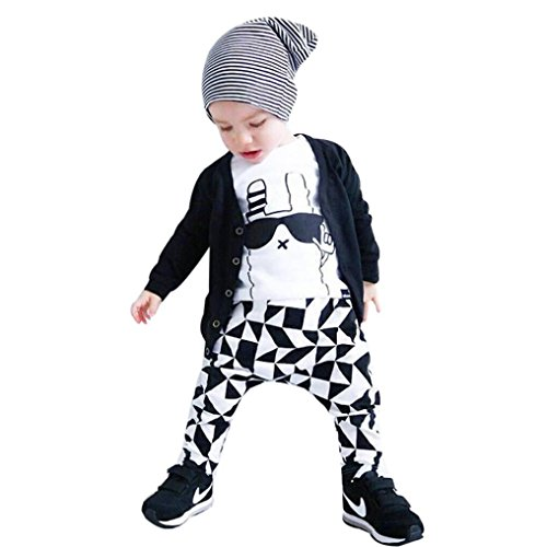 [EKIMI Infant Baby Boy Glasses Rabbit Geometric T-shirt+Pants Outfit Clothes Set (9M)] (White Rabbit Dance Costumes)