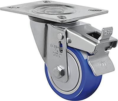 "Schioppa L12 Series, GL 312 TP G, 3 x 1-1/4"" Swivel Caster with Total Lock Brake, Non-Marking Thermoplastic Compound Wheel, 150 lbs, Plate 3-1/8 x 4-1/8"" (Bolt Holes 3-1/8 x 2-1/4"")"