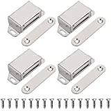 JQK Magnetic Cabinet Door Catch, Stainless Steel Closet Catches with Strong Magnetic, 1.2mm Thickness Furniture Latch 20 lbs (Pack of 4), CC101-P4