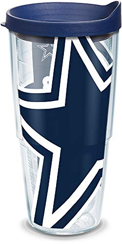 Tervis 1085169 NFL Dallas Cowboys Colossal Tumbler with Wrap and Navy Lid 24oz, Clear