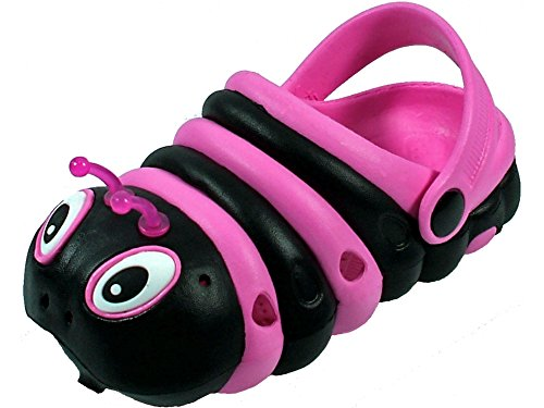 Walking Slippers for Kids Girls Boys and Toddler - Funny Comfortable Animal Designed Charm Shoes- Garden Shoes (7 M US Toddler, Black/Pink) -