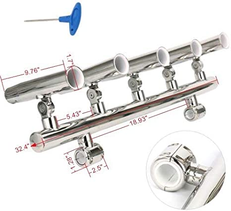 """Stainless Rail Mount Clamp on Boat Fishing Rod Holder for Rails 1/"""" to 25-32mm UK"""