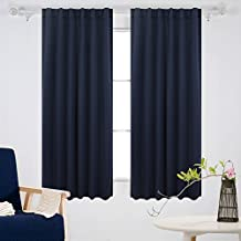 Deconovo Rod Pocket Blackout DrapesThermal Insulated Curtains Window Blackout Curtains For Bedroom 52W x63L Inch Set of Two Panels Navy Blue