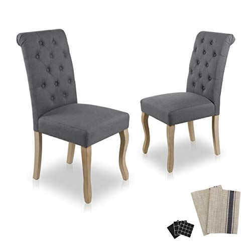 Dinner Chairs Upholstered Accent Fabric Dining Chair with Solid Wood Legs for Kitchen Living Room Set of 2 (Grey)