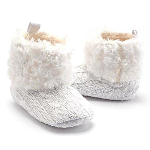 Highdas Bebé Zapatos Infants Crochet Knit Fleece Botas Niñito Girl Boy Wool Snow Crib Zapatos Invierno Booties Blanco