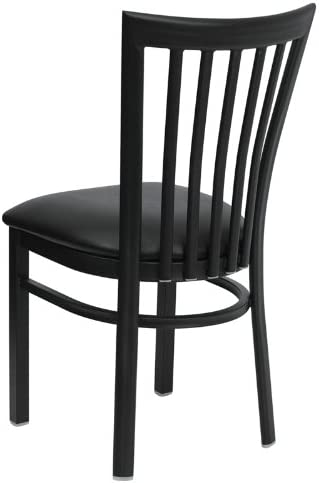 Flash Furniture 4 Pk. HERCULES Series Black School House Back Metal Restaurant Chair – Black Vinyl Seat