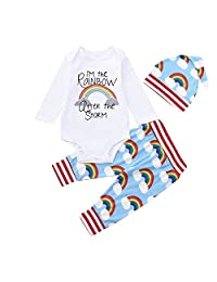 Iuhan Clearance 0-18Month Newborn Baby Rainbow Romper Tops Pants Hat 3PC Outfits Set
