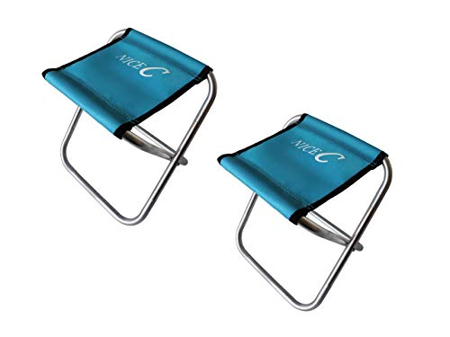 Nice C Kids Portable Folding Stool Ultralight Camping Chair with Carry-Bag Heavy Duty for Outdoor, Camping, BBQ,Backpacking, Beach Sunbath, Travel, Picnic, Festival (2 Pack of Blue) ()