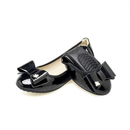 FLYRCX Arco Suave de Las Mujeres de Charol Dulce Arco y Zapatos Planos cómodos Zapatos de Trabajo Zapatos de Las Mujeres Embarazadas Zapatos de Ballet portátiles Plegables H