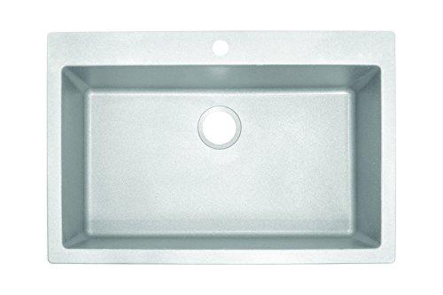 "DIG61091-WHT Primo 33"" Dual Mount Granite Single Bowl Kitchen Sink, White, 22 x 9-inch"