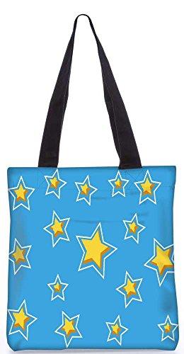 """Snoogg Terekay Star Blue Muster-Einkaufstasche 13,5 X 15 In """"Einkaufstasche Dienstprogramm Trage Aus Polyester Leinwand"""