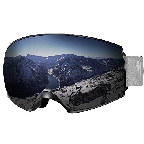 e4aa821ab2c WhiteFang Ski Goggles PRO Snow Snowboard Goggles Magnet Dual Layers  Interchangeable Lens Over Glasses Design Anti