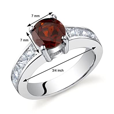 Simply Sophisticated 1.50 carats Garnet Ring in Sterling Silver Rhodium Nickel Finish Sizes 5 to 9