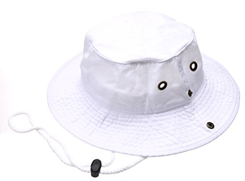 Summer Outdoor Boonie Hunting Fishing Safari Bucket Sun Hat with Adjustable Strap(White,SM)
