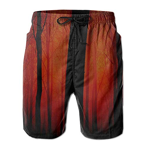 - WIEYe Trees Red Fog Men's Sportwear Quick Dry Board Shorts with None Lining for Young