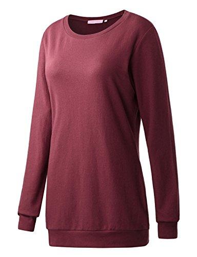 Grey Hooded Sweat Top - Regna X Boho for Womans Warm Loose Tunics Wine XL Maternity Tunic Pullover Sweats Sweatshirts for Leggings
