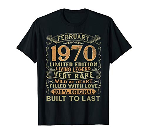 Vintage 50 Years Old February 1970 50th Birthday Gift Ideas T-Shirt