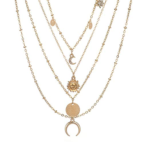 AIUSD Moon Horn Round disc Set with Diamond Pendant Four Necklace Clavicle Chain
