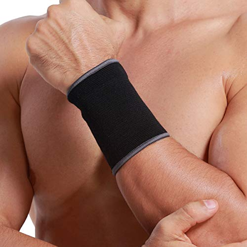 Neotech Care Wrist Band Support Sleeve (1 Unit) - Elastic & Breathable Knitted Fabric Compression Brace - for Tennis, Gym, Sport, Tendonitis - Black Color (Size M)]()