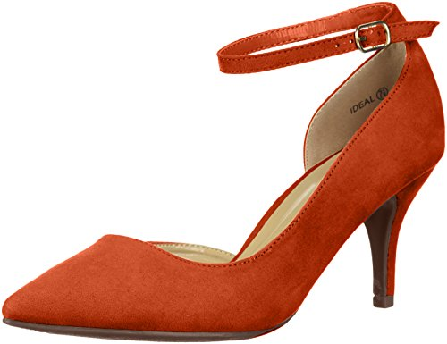 DREAM PAIRS Women's Ideal Pump, Red Suede, 9 M US