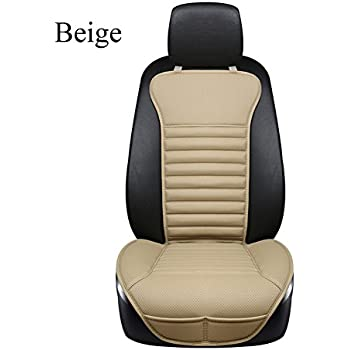 DINKANUR Car Seat Protector PU Leather Bamboo Charcoal Interior Seats Suit For Most Cars With Slim Waistline Backrest 1 PCS Beige