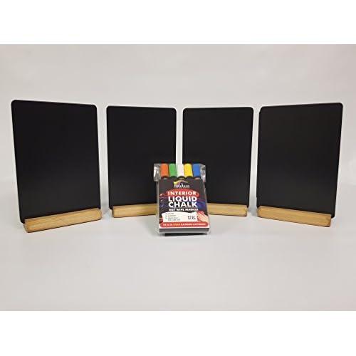 A5X 8TOPS avec table en bois teinté plinthes Plus un Lot de 5marqueurs à craie liquide coloré. Code C34