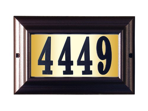 [Qualarc LTL-1301AC-PN Edgewood Large Lighted Address Plaque in Antique Copper Frame Color with 4-Inch Black Polymer Numbers] (Large Lighted Address Plaque)