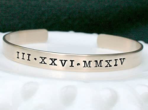 Adjustable Roman Numeral Gold Brass or Silver Cuff Bracelet
