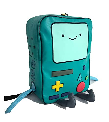 Adventure Time with Finn and Jake backpack CN BMO schoolbag Beemo Be more Cartoon Robot High-grade PU Green]()