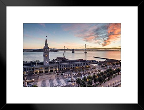Poster Foundry Ferry Building Sunrise San Francisco California Photo Art Print Matted Framed Wall Art 26x20 inch