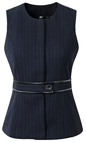 Vocni Women's Fully Lined 1 Button Economy Dressy Suit Vest Waistcoat, Black Pinstripe, US L (Fit Bust 38.2