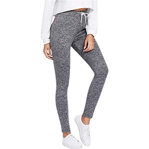 - Botrong Fashion Womens Elastic Drawstring Solid Leggings Sport Casual Fitness Yoga Pants (Gray,M)