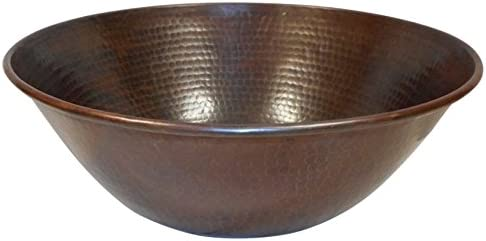 SimplyCopper Rustic 14 Round Mexican Copper Vessel Bathroom Sink