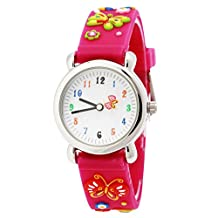 Panegy Girls Children Watches Quartz Numeral Analog Cute 3D Flowers Butterfly Students Strap Rose Red