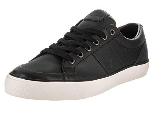 Polo Ralph Lauren Men's Ian Sport Leather Fashion Sneaker, Black, 7.5 D US