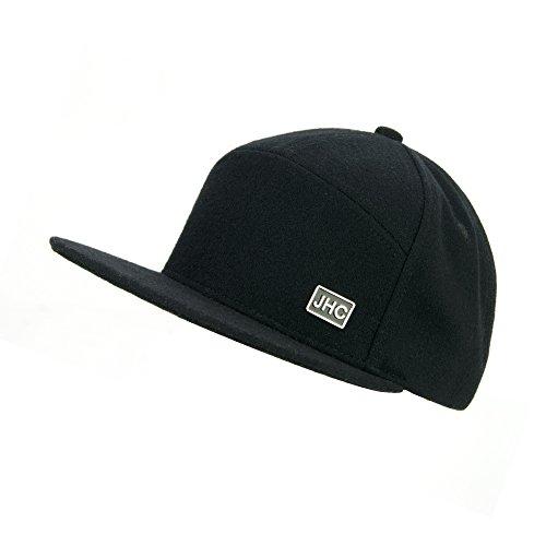 JHC Structured Flat Bill Woolen Snapback Cap For Men (Black)