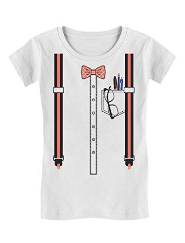 TeeStars - Halloween Nerd Geek Easy Costume Toddler/Kids Girls' Fitted T-Shirt 2T White