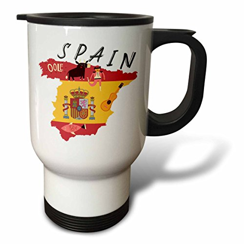 3dRose TNMGraphics Countries - Map of Spain With Flag and Icons - 14oz Stainless Steel Travel Mug (tm_286294_1) by 3dRose