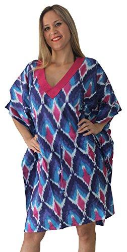 La Leela blusa de la parte superior del cuello, más playa de tamaño de natación mujeres encubrir kaftan túnica - ikkat algodón estampado v Azul