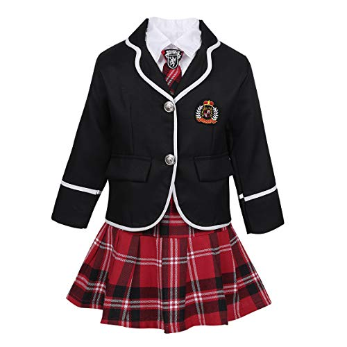 (ACSUSS Kids Girls Autumn Winter School Uniforms Outfits White Button Down Shirt with Tie Plaid Mini Skirt Jacket Set Black 7-8)