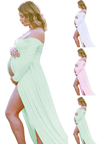 Light Green Maternity-Dress off Shoulder Long Sleeve Chiffon Gown Split Front Maxi Pregnancy Photography-Dress for Photoshoot (A-Light - Pale Lace Dress Blue