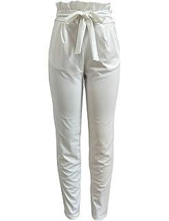 Frecoccialo Pantalon Fluide Femme à Taille Haute Paperbag Jambes 7 8 Dotée  d Une Ceinture à Nouer Blanc Noir Rose… 3a3278e0c68