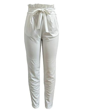 0c8225cdece0 Frecoccialo Pantalon Fluide Femme à Taille Haute Paperbag Jambes 7 8 Dotée  d Une Ceinture à Nouer Blanc Noir Rose pour Eté  Amazon.fr  Vêtements et ...