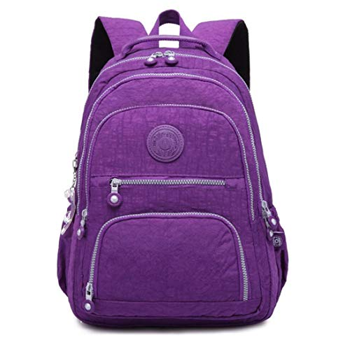 Nylon Casual Travel Daypack Lightweight Sports Laptop Backpack Purse for Women Waterproof Medium Work College School Bag for Girls (Light Purple)