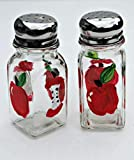 Red Apple Salt and Pepper Hand Painted Glass Shaker Set Home Decor